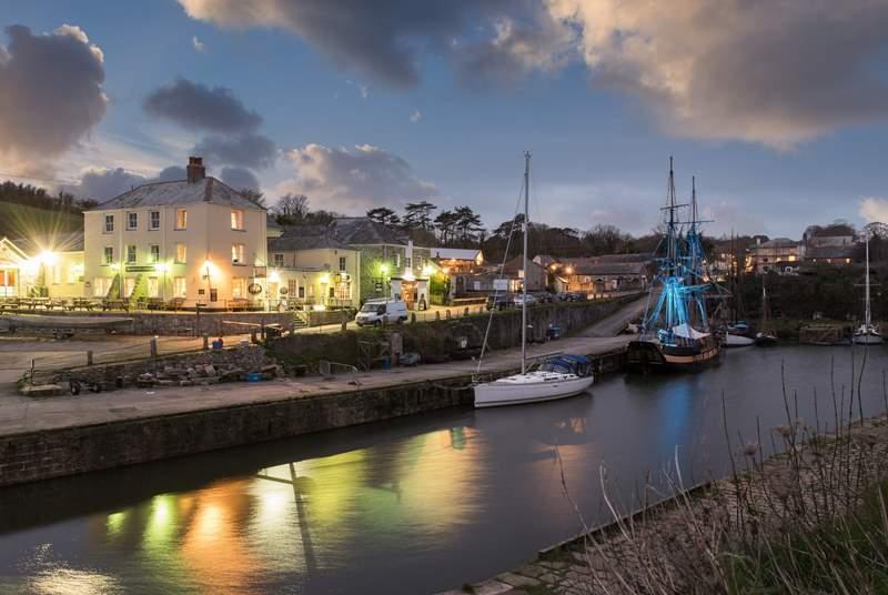 Tiny Charlestown harbour at dusk.