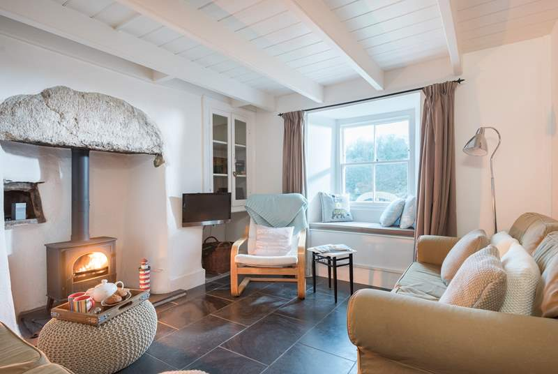 The cosy sitting-room looks out over the harbour.