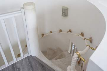 Looking down the stairs from the master bedroom.