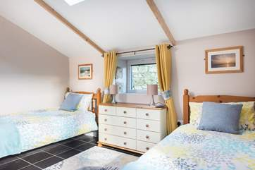 The spacious twin bedroom has three-foot single beds so is suitable both for adults and children.