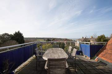 A lovely roof terrace perfect for al fresco dining in the sunshine surrounded by views across to the solent and nearby nature reserve