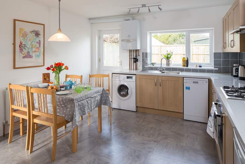 The lovely modern kitchen is well equipped with everything you need for cooking up a treat!