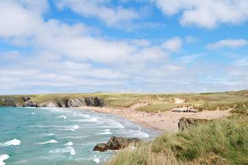 The beautiful golden sands of Holywell Bay are only a short drive away