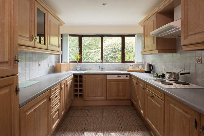 The kitchen over looks woodland, perfect for spotting wildlife.