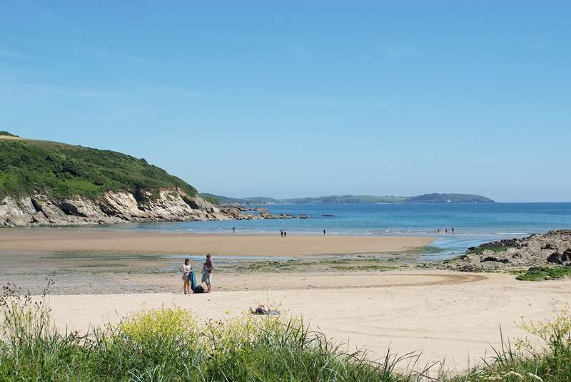 The sandy beach at Maenporth is never crowded in spring and autumn and the coast path runs right behind it.