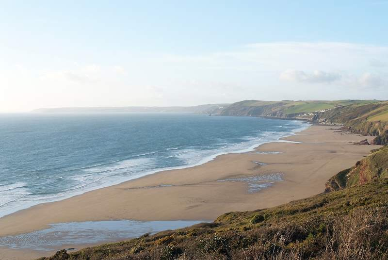 Long Sands is a short drive away, well worth the effort it takes to walk back up the cliffs!