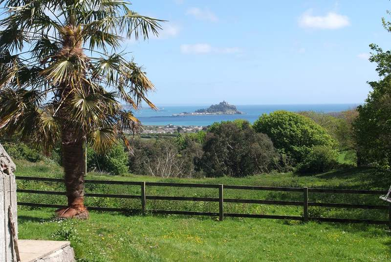 The view to St Michael's Mount from the garden.