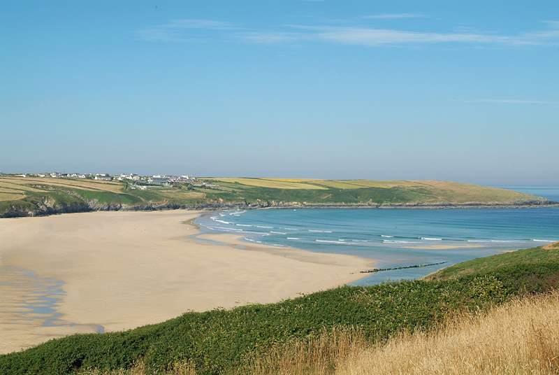 A view of Crantock beach, half a mile away.