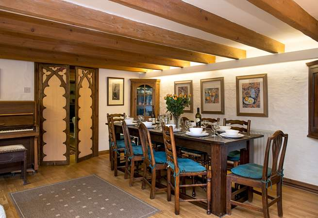 For more formal dining, perhaps to mark a special occasion, there is also a dining-table in the open plan living-room.