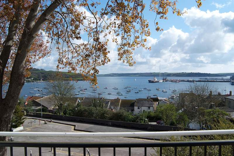 The view over Falmouth harbour from the wide balcony that runs along the front of the cottage.