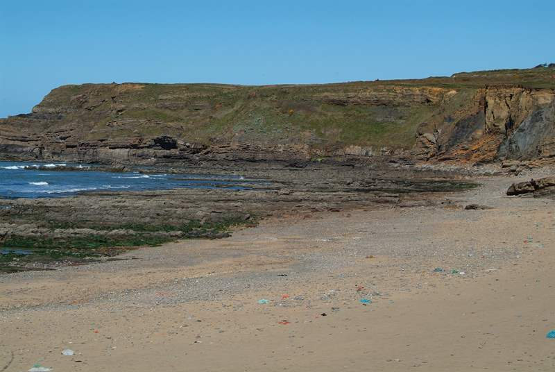 Part of the beach at Widemouth Bay.