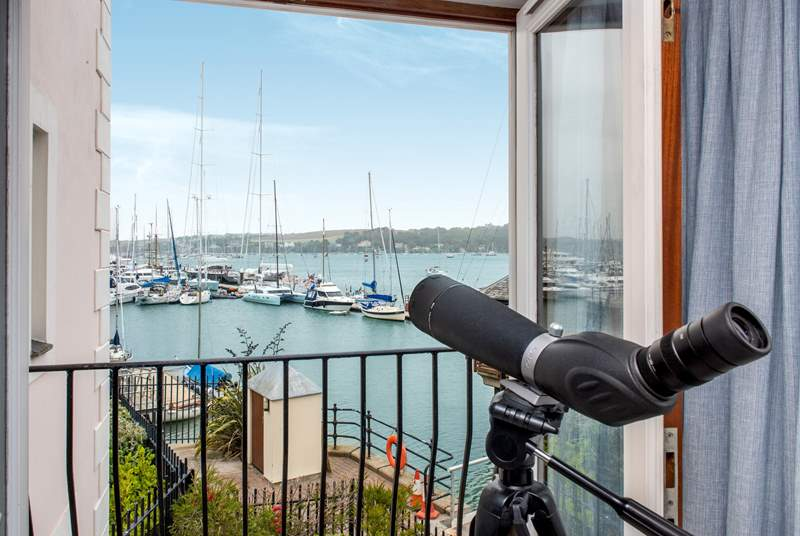 There are fabulous views across the moorings and harbour from the first floor sitting-room