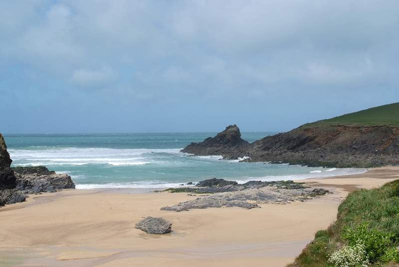 The glorious sandy beach at Trevone.