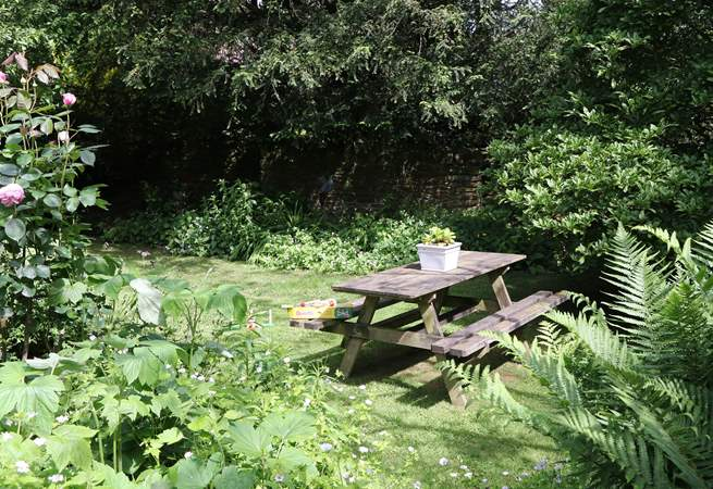 This is the fully enclosed, partialy walled garden. A lovely sheltered and totally private spot for a picnic or morning coffee and a treat from the farm shop.