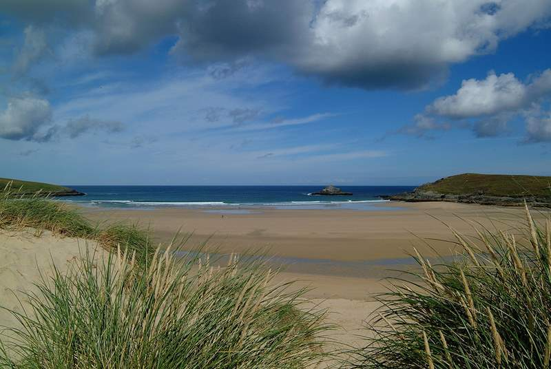 A view to Crantock beach taken from the sand dunes, half a mile from Forge Cottage.
