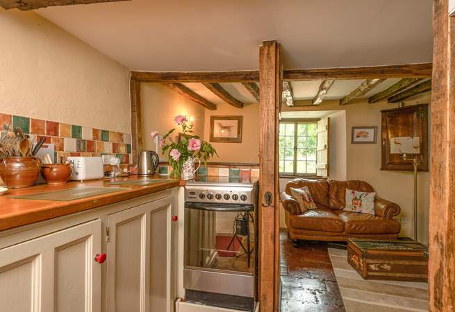 This is the bespoke fitted kitchen, perfectly in keeping with the cottage and its atmosphere.