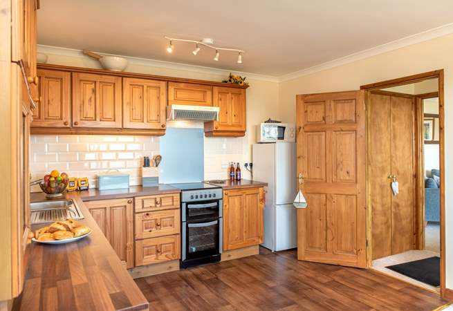 The kitchen-area is light and spacious and is well-equipped for all your holiday catering needs.