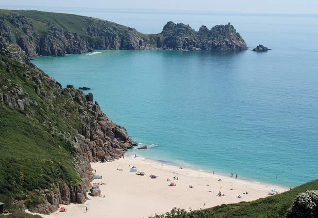 Porthcurno beach and Green Bay from the top of the cliffs.