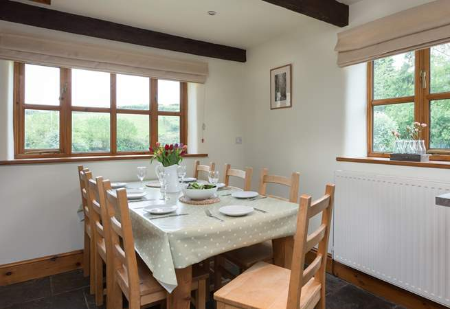 This is the dining-area of the kitchen, with its lovely farmhouse kitchen table.