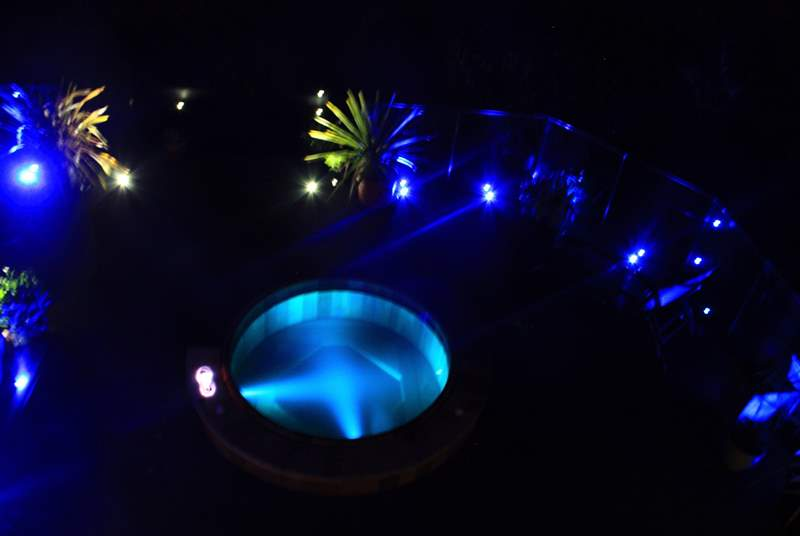 The hot tub at night.