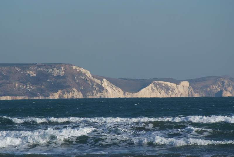 The stunning Jurassic coastline from Weymouth's seafront.