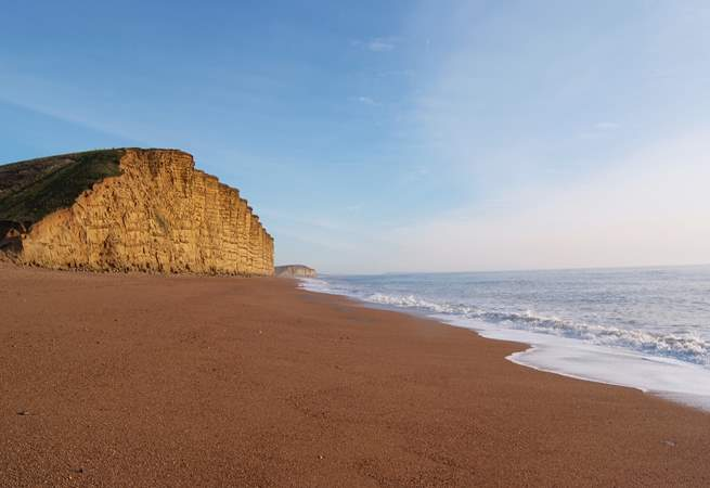The stunning Jurassic cliffs at West Bay. Have lunch at the Watch House cafe - right on the beach.