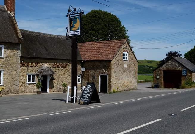 The Half Moon pub in Melplash is one mile away.