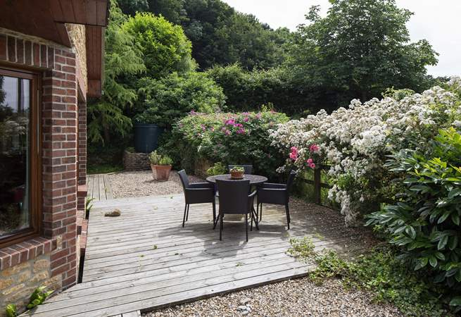 The large sheltered terrace at the rear of Barbridge Cottage.