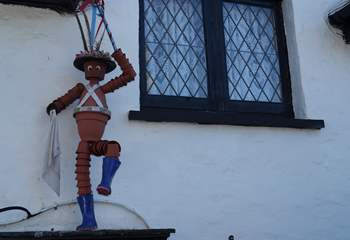 Berrynarbor is the home of the Flower Pot Men, and they can been seen throughout the village.