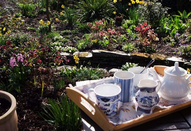Sit on the terrace outside the cottage and take in all the wonderful detail in this special garden.