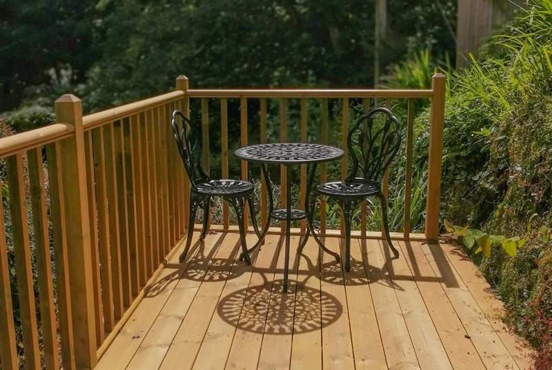 The top decked area is the perfect spot for a cup of tea. (there are several steps leading up to this area).