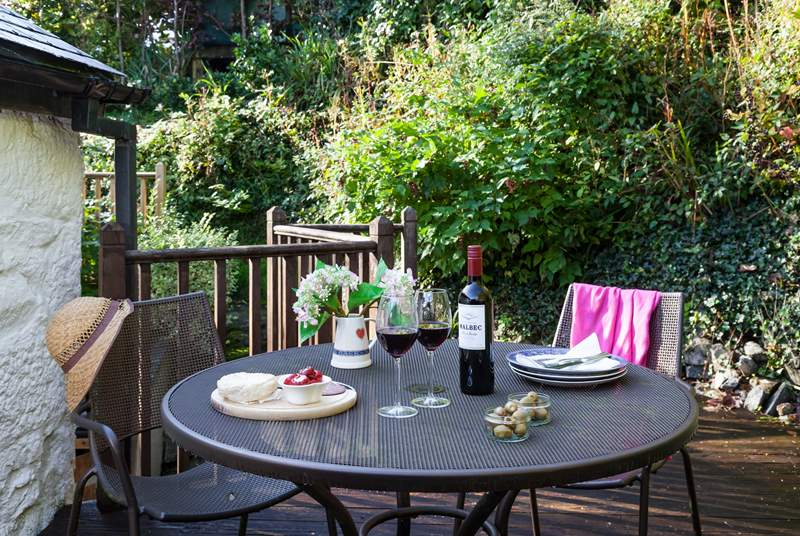 The top decked area is the perfect spot for a glass of wine. (there are several steps leading up to this area).