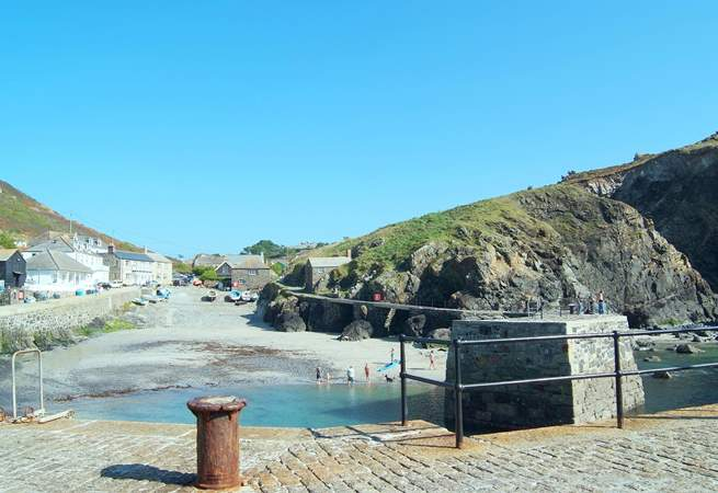 Looking from the end of the picturesque harbour back towards the little cafe at the entrance.
