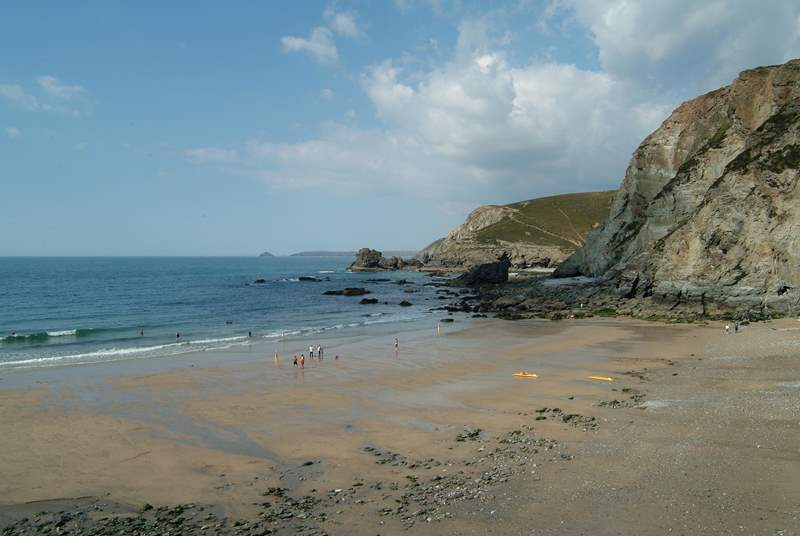 Trevaunance Cove with the tide going out.
