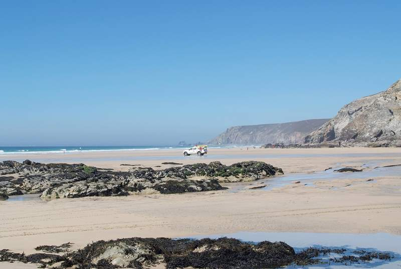 Porthtowan beach as the tide drops back...a 15 minute drive from Swallows Nest.