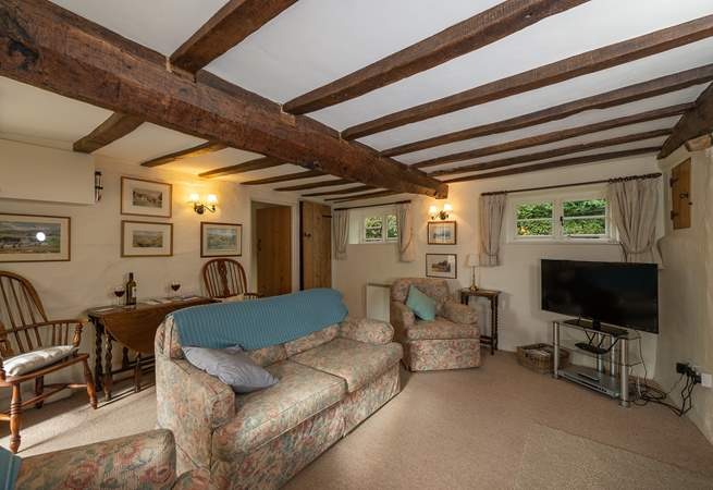 Another view of the sitting-room with its wonderful beamed ceiling.