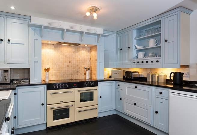 The bespoke kitchen with fantastic range.