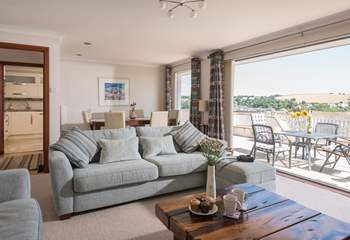Relax on the sofa's whilst looking out to sea.