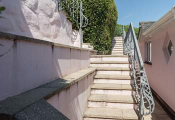 The steps from the road leading down to The Lookout.