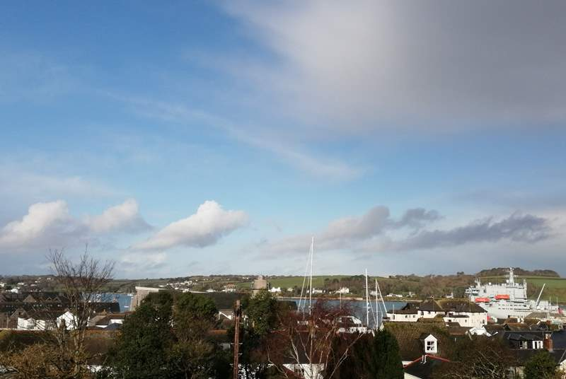 Looking towards Falmouth harbour  and Flushing from the balcony.
