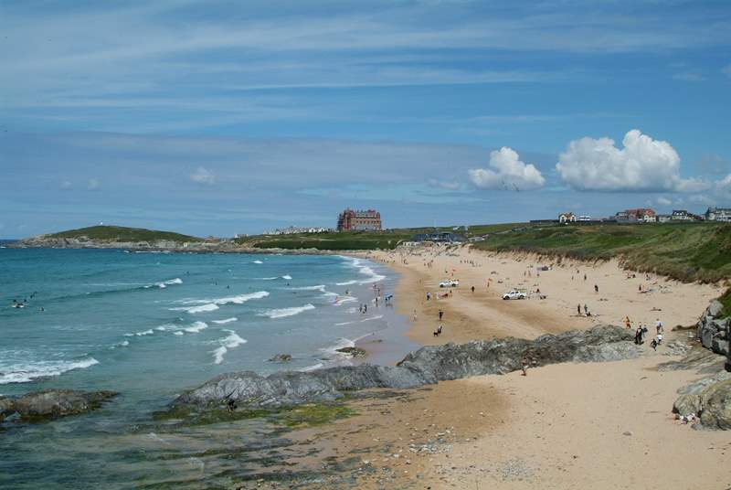 Fistral Beach is your nearest beach, which is just on the other side of Pentire.