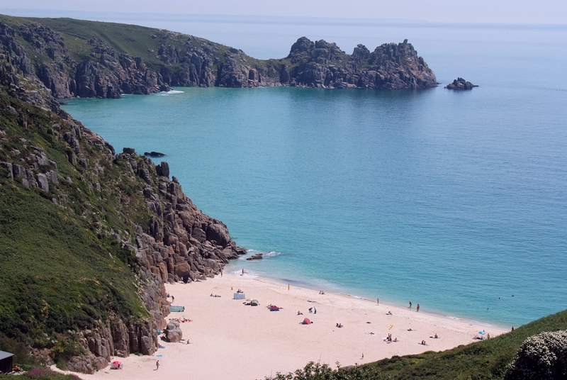Porthcurno beach is a short drive away.