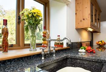 Gorgeous granite work surfaces and sink.