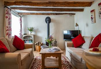 The living area is well thought out and offers a smart television.