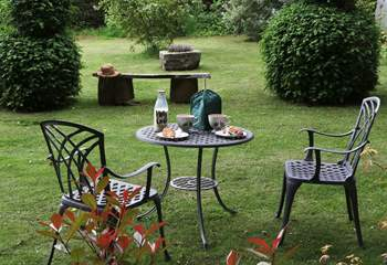 Have morning breakfast in the Pump House private garden. The Farm Shop at the bottom of the lane supplies all immediate needs.