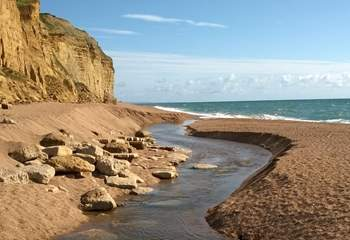 This is the dramatic Jurassic Coast at Burton Bradstock, beyond West Bay at Bridport.