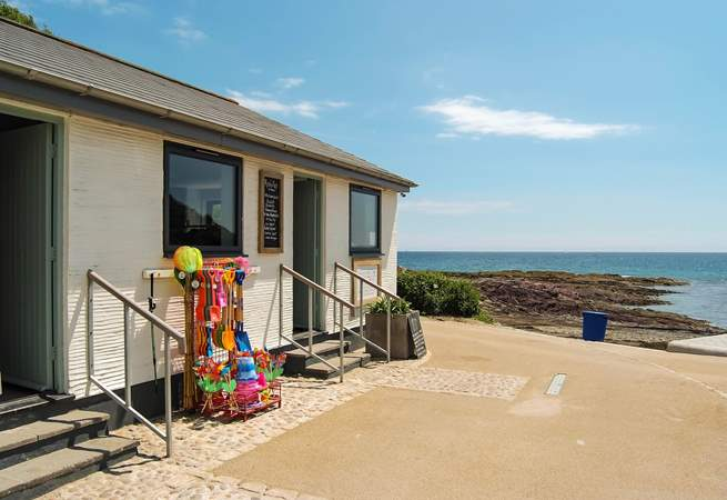 The lovely little beach cafe at Talland Bay is a short stroll down the hill.