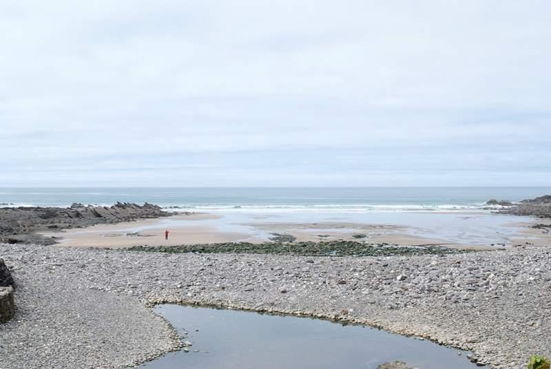 The beach at Crackington Haven.