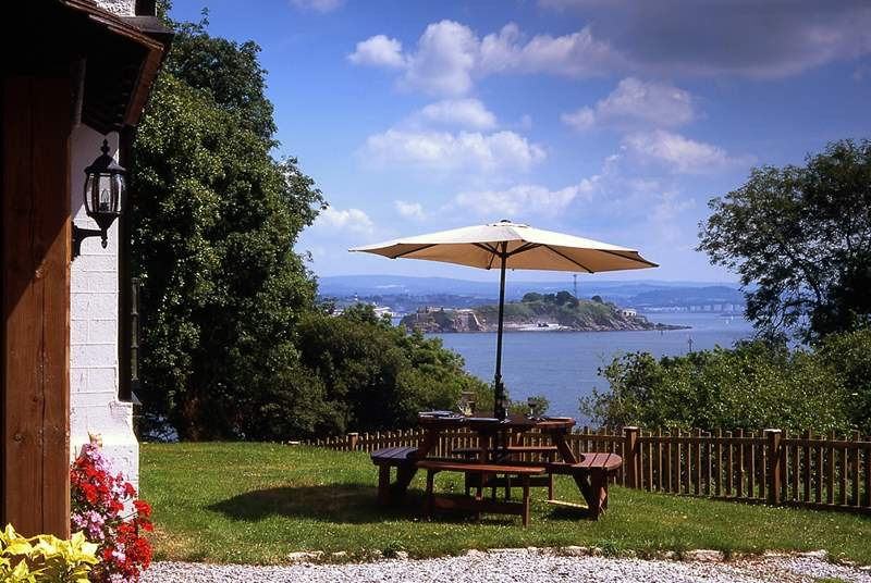 There are wonderful views of the water from the garden, the house and, of course, the hot tub.