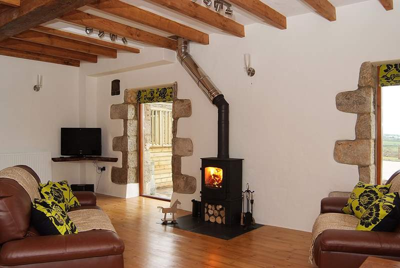 The wood-burner ensures you are toasty warm, whatever the weather.